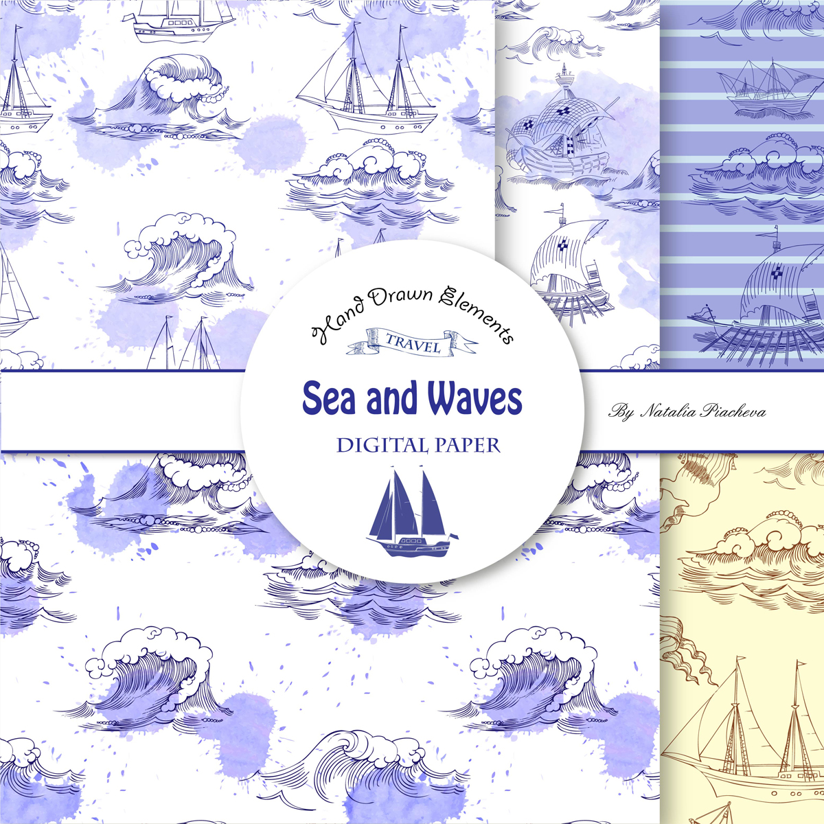 Sea and Waves.Digital Paper example image 3