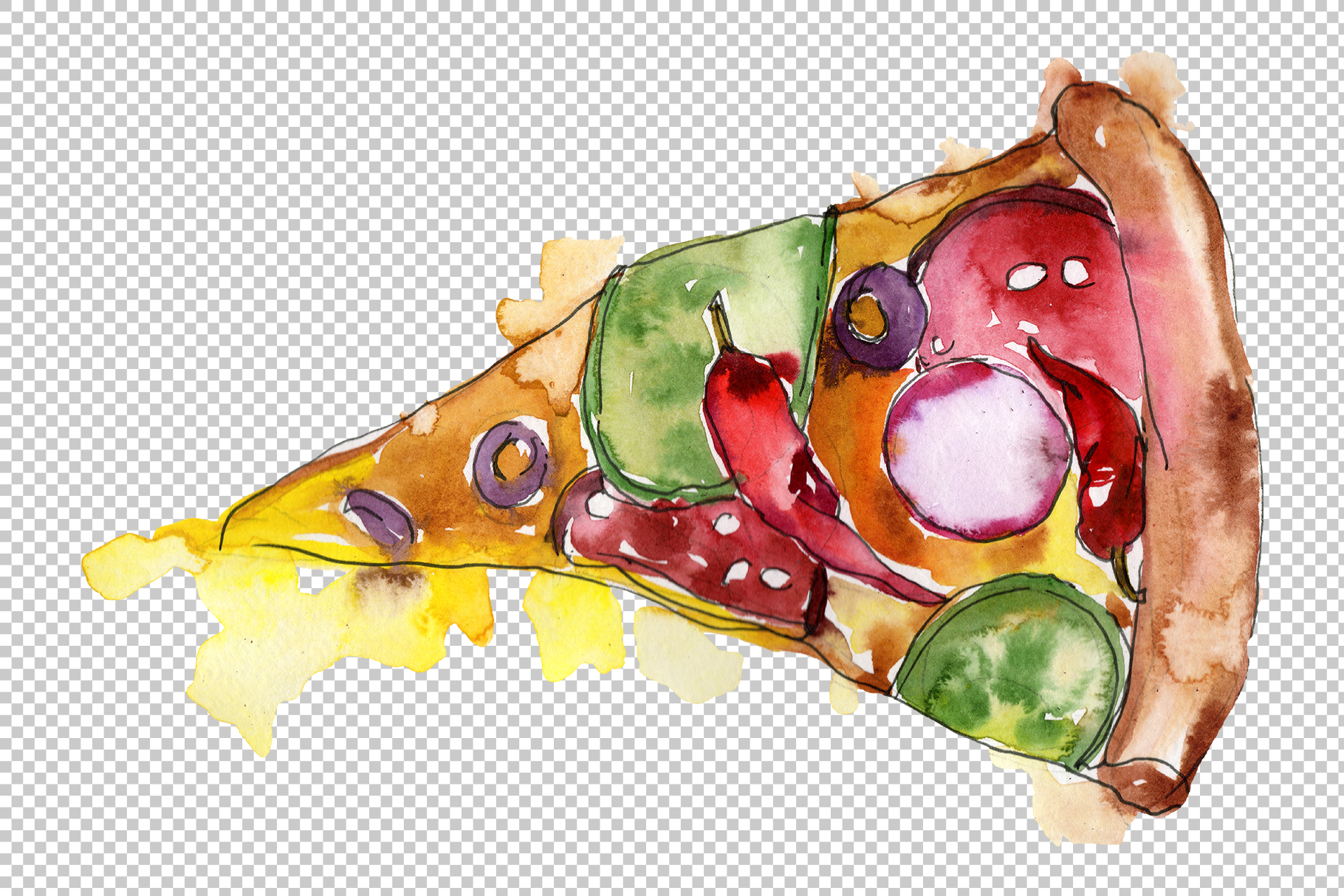 Pizza Margherita watercolor png example image 3