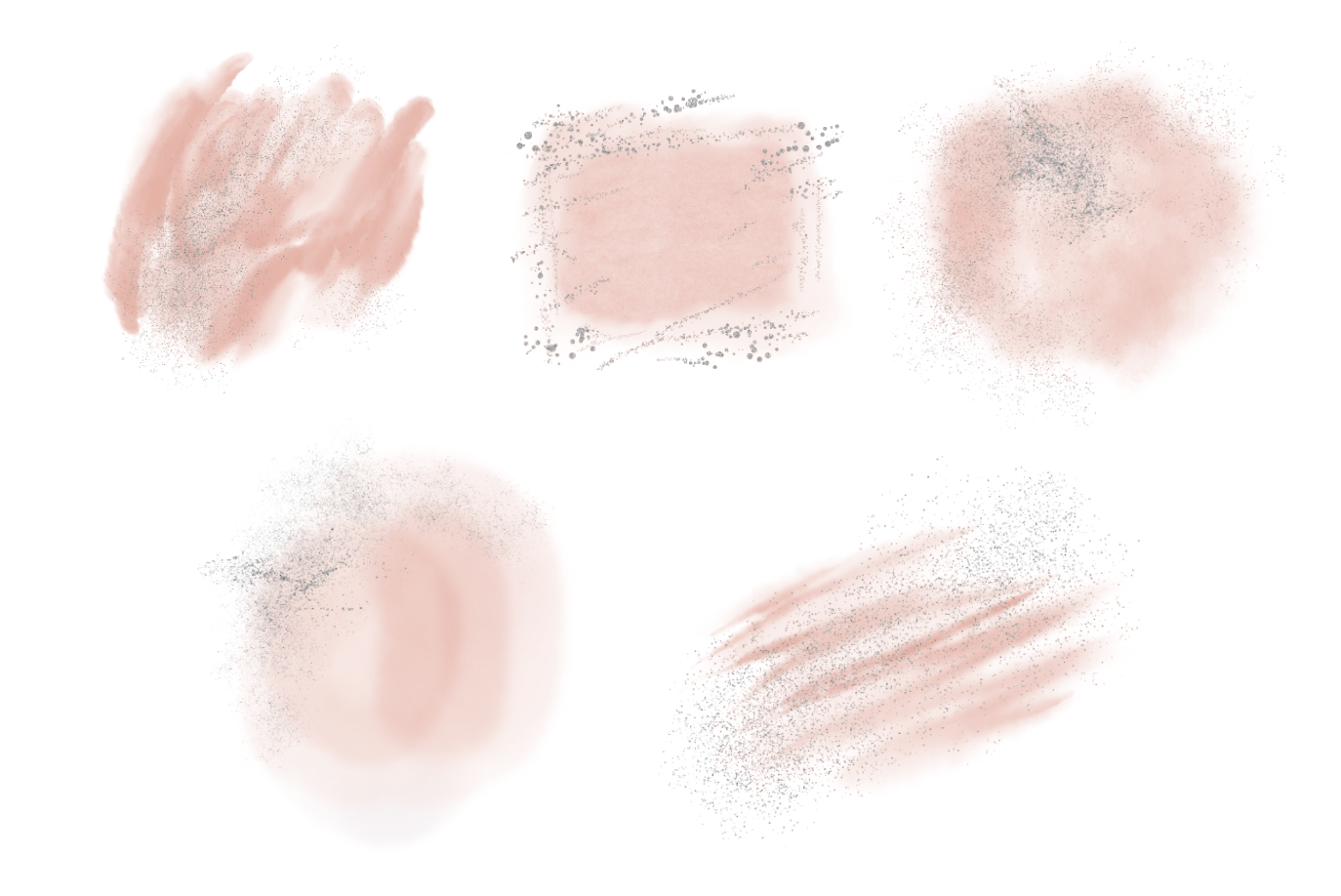 Blush Pink and Silver Glitter Watercolor Backgrounds PNG example image 4
