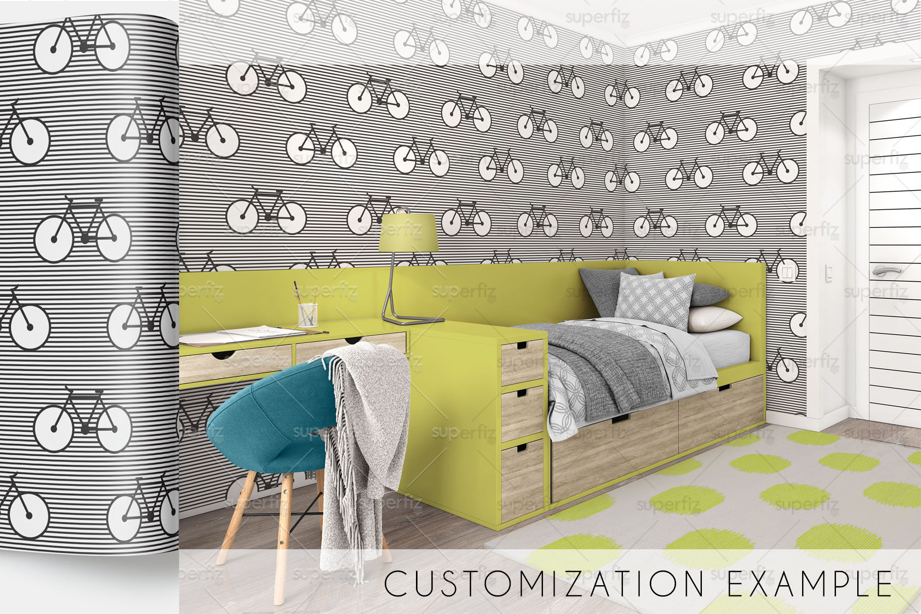 Wallpaper, floor and carpet Mockup Kids Bedroom SM62 example image 5