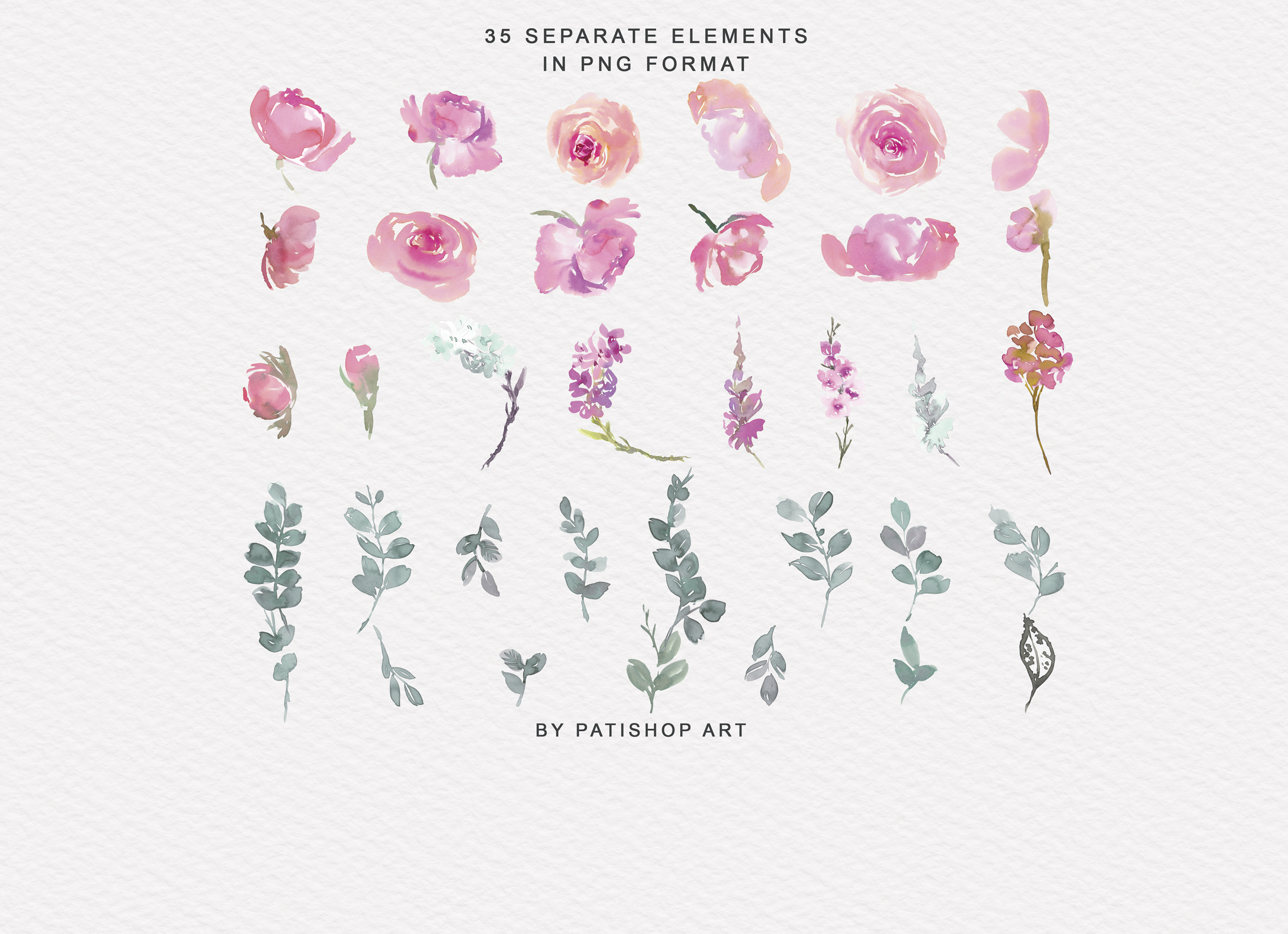 Pink and Turquoise Watercolor Floral Clipart Collection example image 7