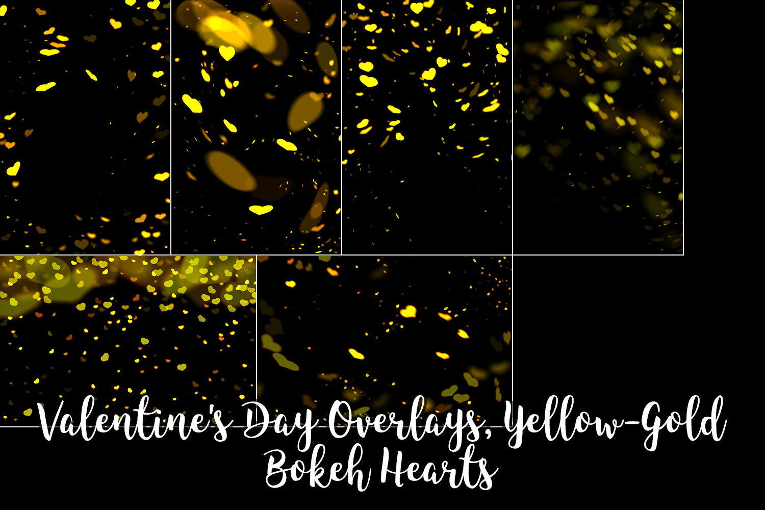 Valentine's Day Overlays, Yellow Gold Hearts Bokeh Overlays example image 5