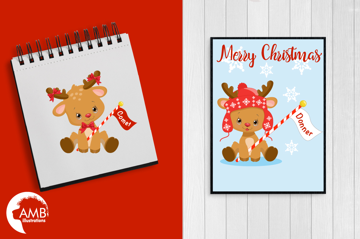 All of Santa's Reindeer clipart, graphics, illustrations AMB-2291 example image 2
