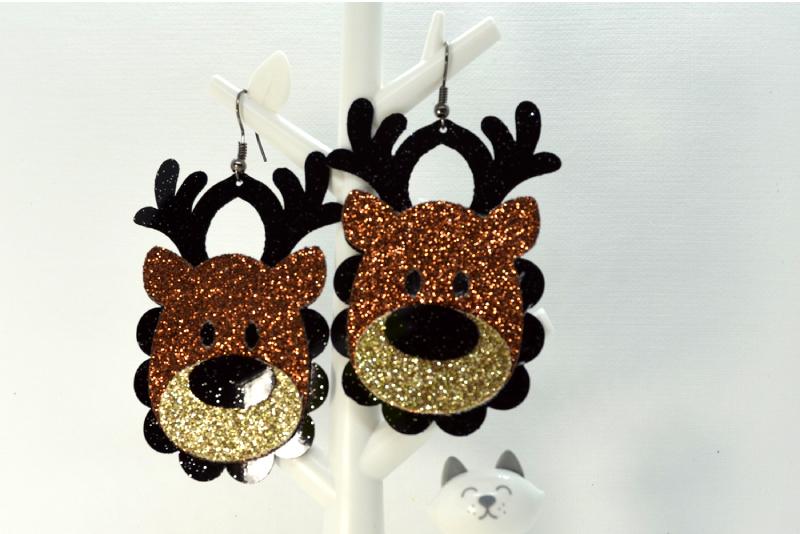 Deer earrings template SVG, DIY earrings template example image 3