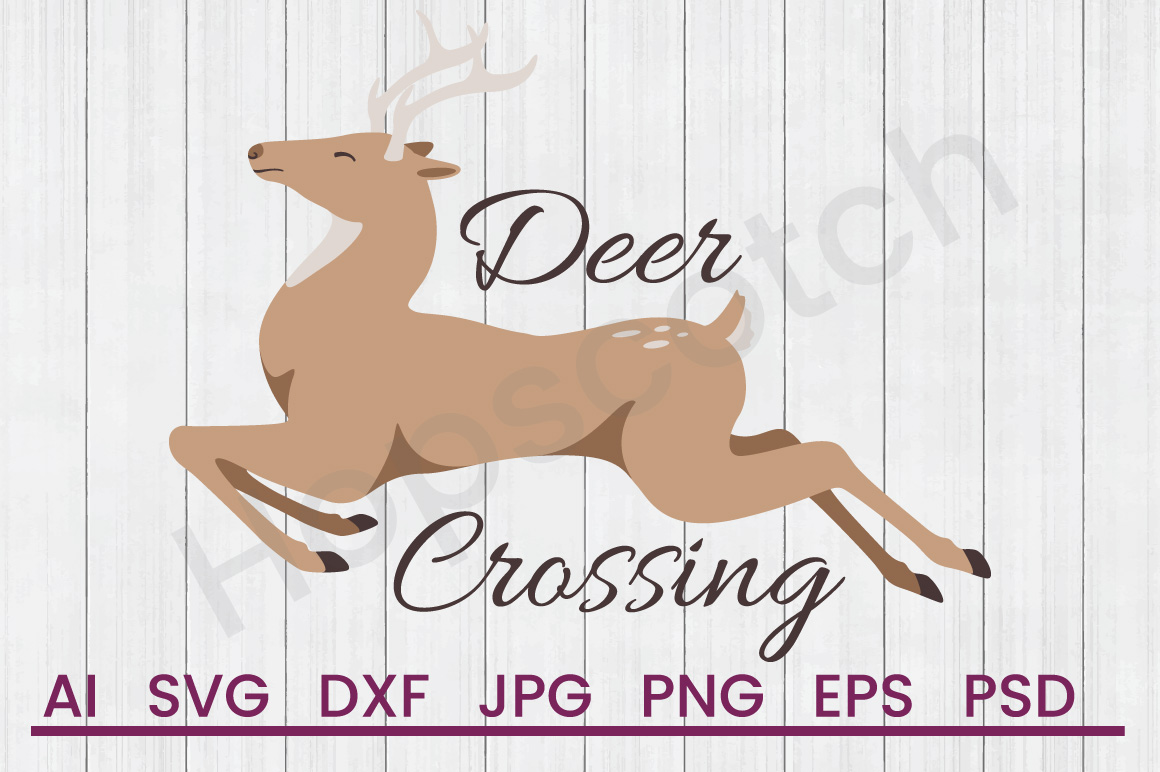 Deer SVG, Deer Crossing SVG, DXF File, Cuttatable File example image 1