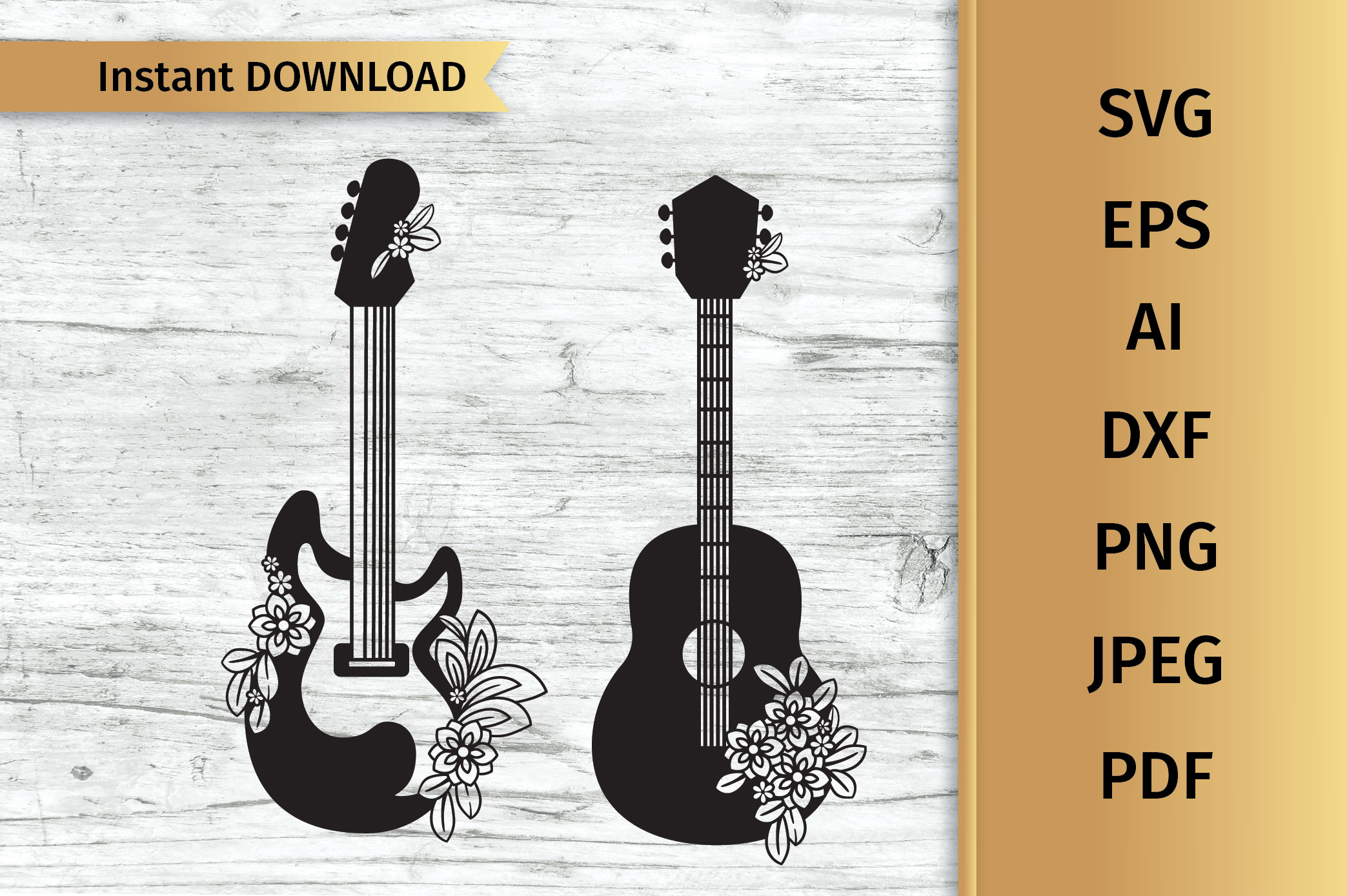 Floral Guitars SVG example image 1