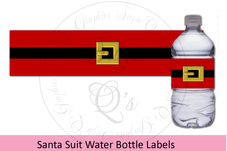 Santa Suit Water Bottle Labels example image 1