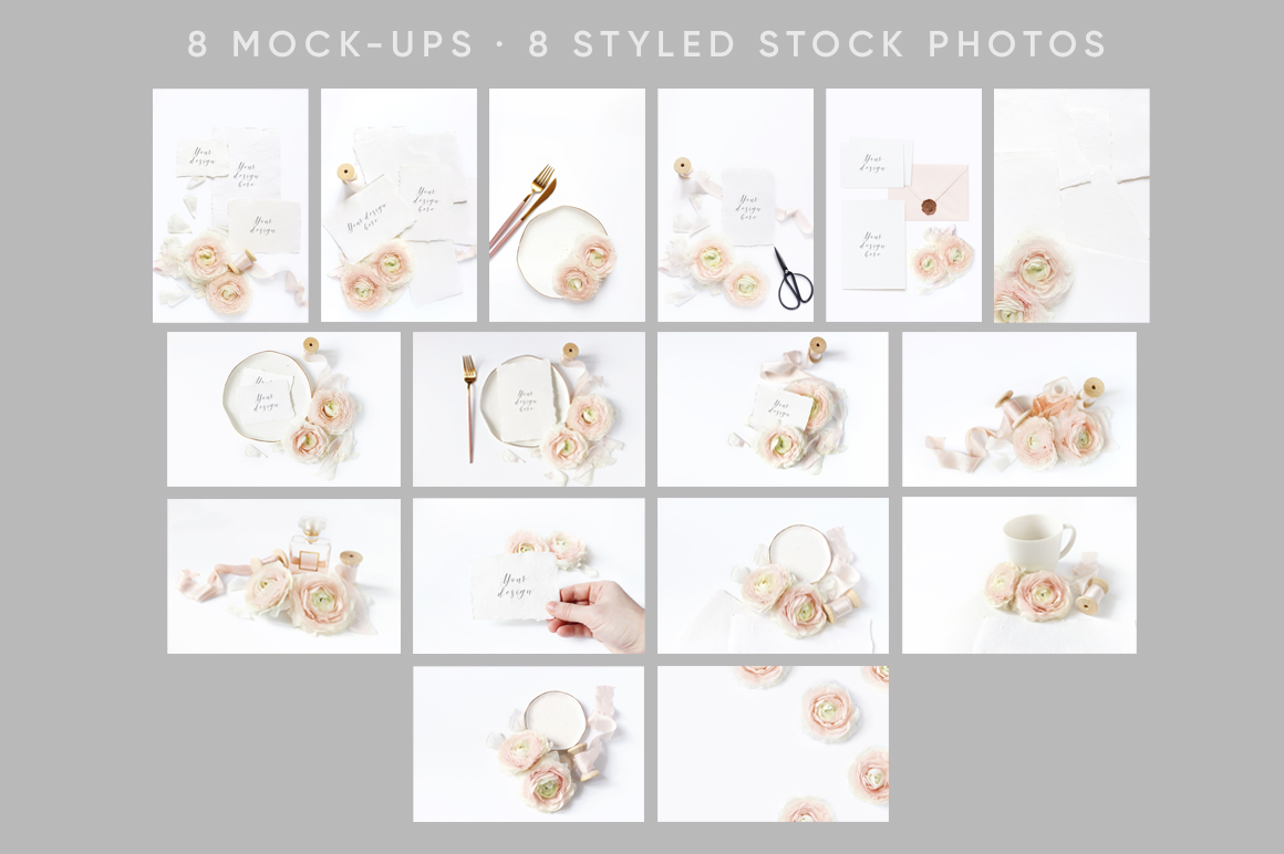 Blush Wedding mockups  & stock photo bundle example image 6