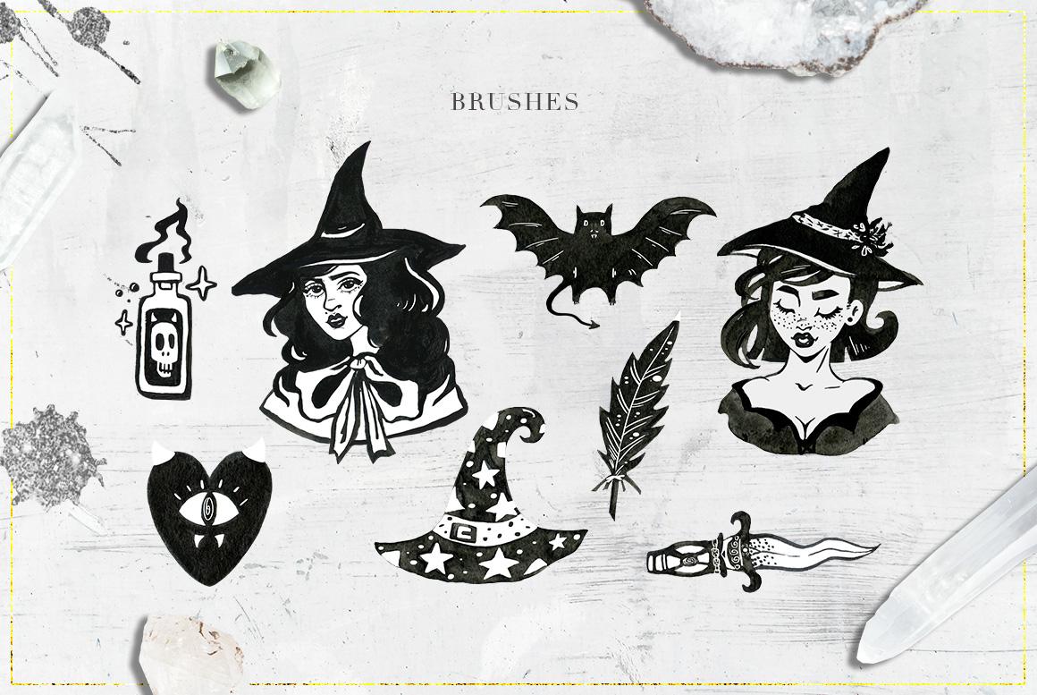 75 Witchcraft Photoshop Brushes example image 2
