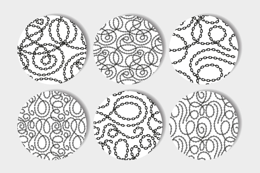 Vector tangled chains seamless patterns set example image 2