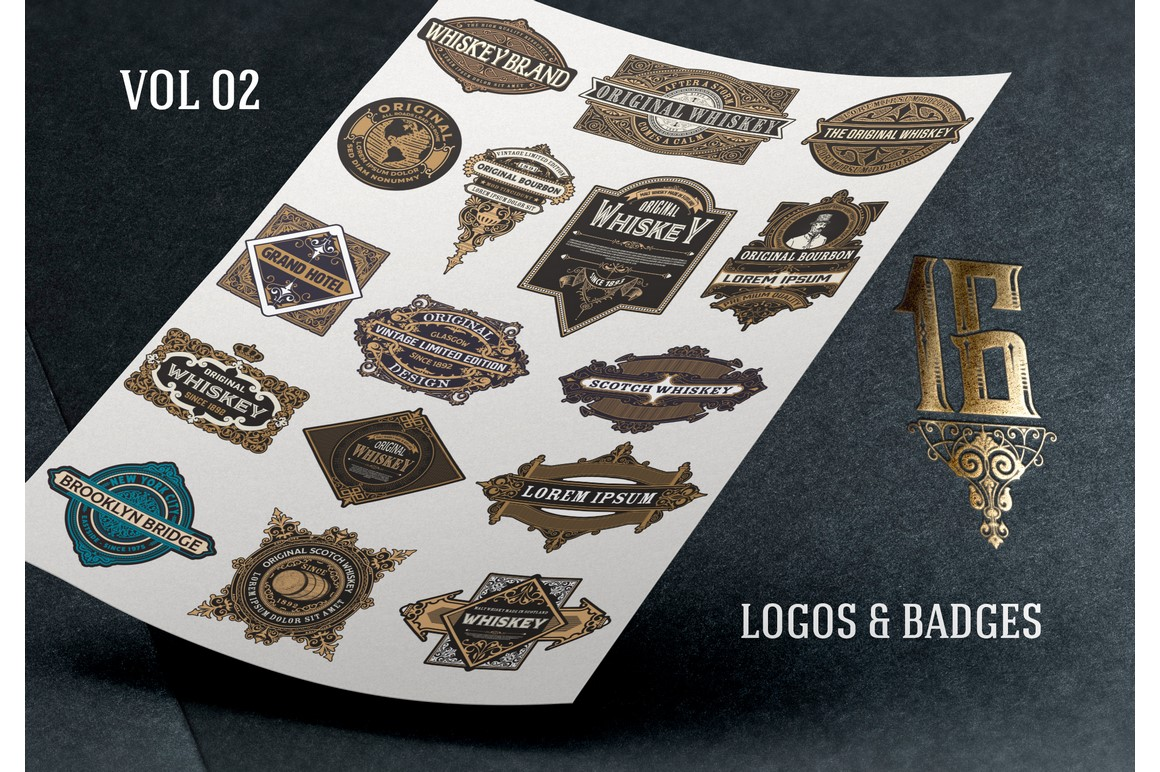 16 Ornamental Logos and Badges example image 1