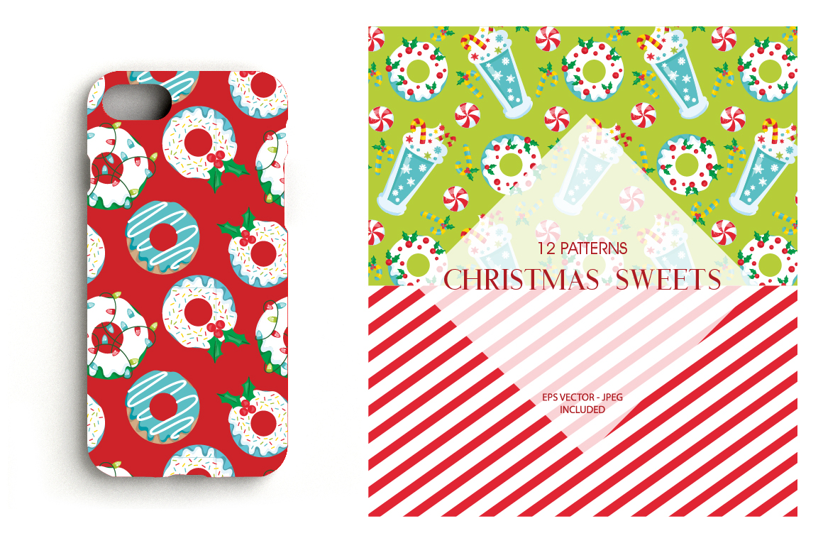 Christmas Sweets Pattern collection, vector ai, example image 4