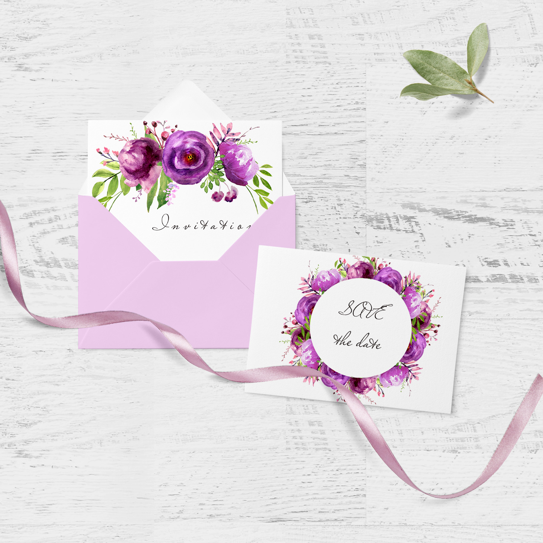 Purple Watercolor flowers clipart Wall art decor example image 4
