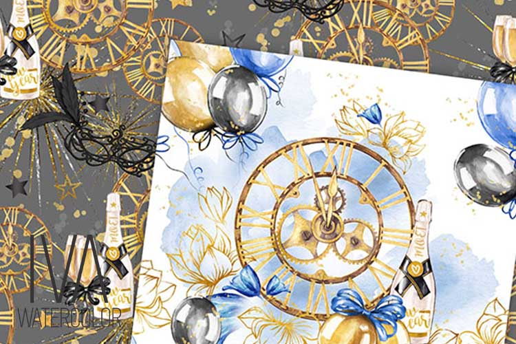 New Year's Eve Digital Paper Pack, New year's masks example image 3