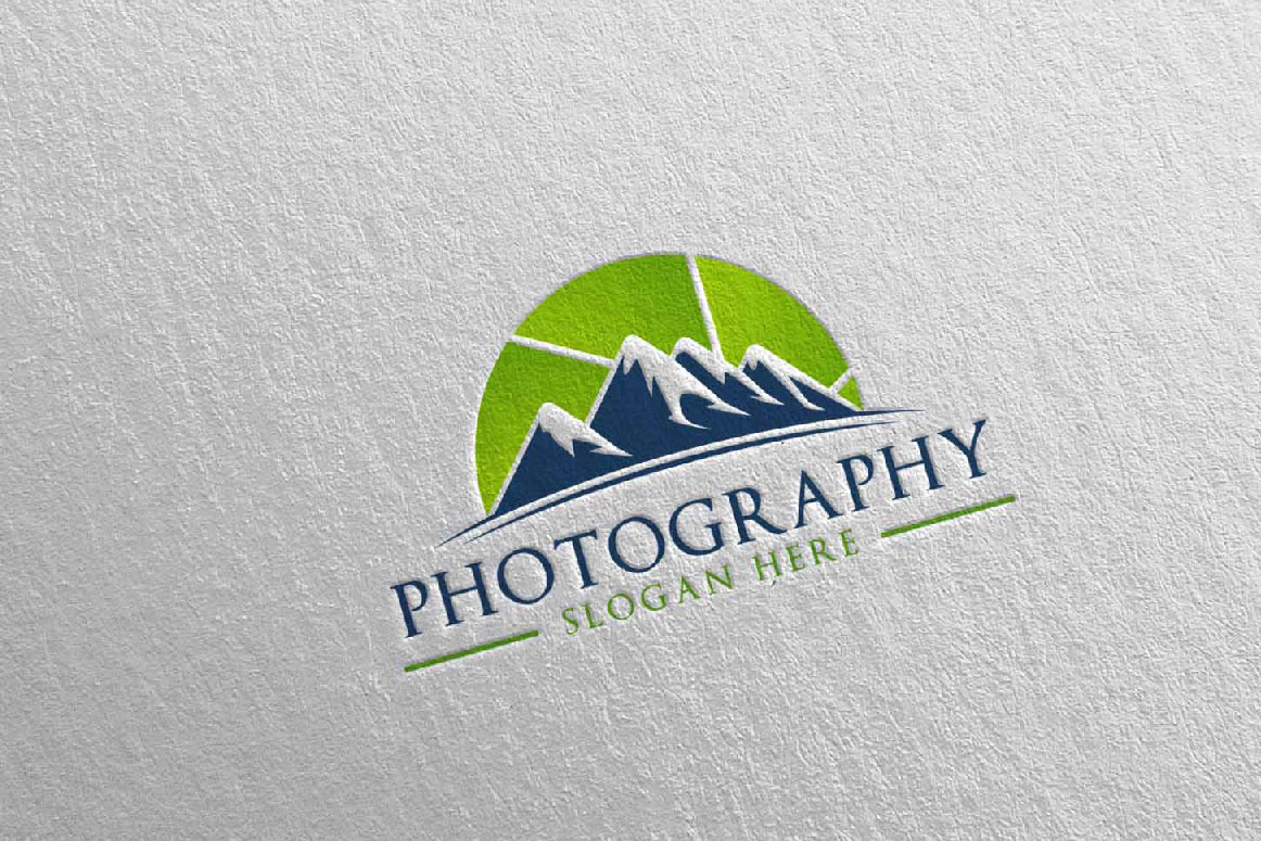 Abstract Mountain Camera Photography Logo 13 example image 3