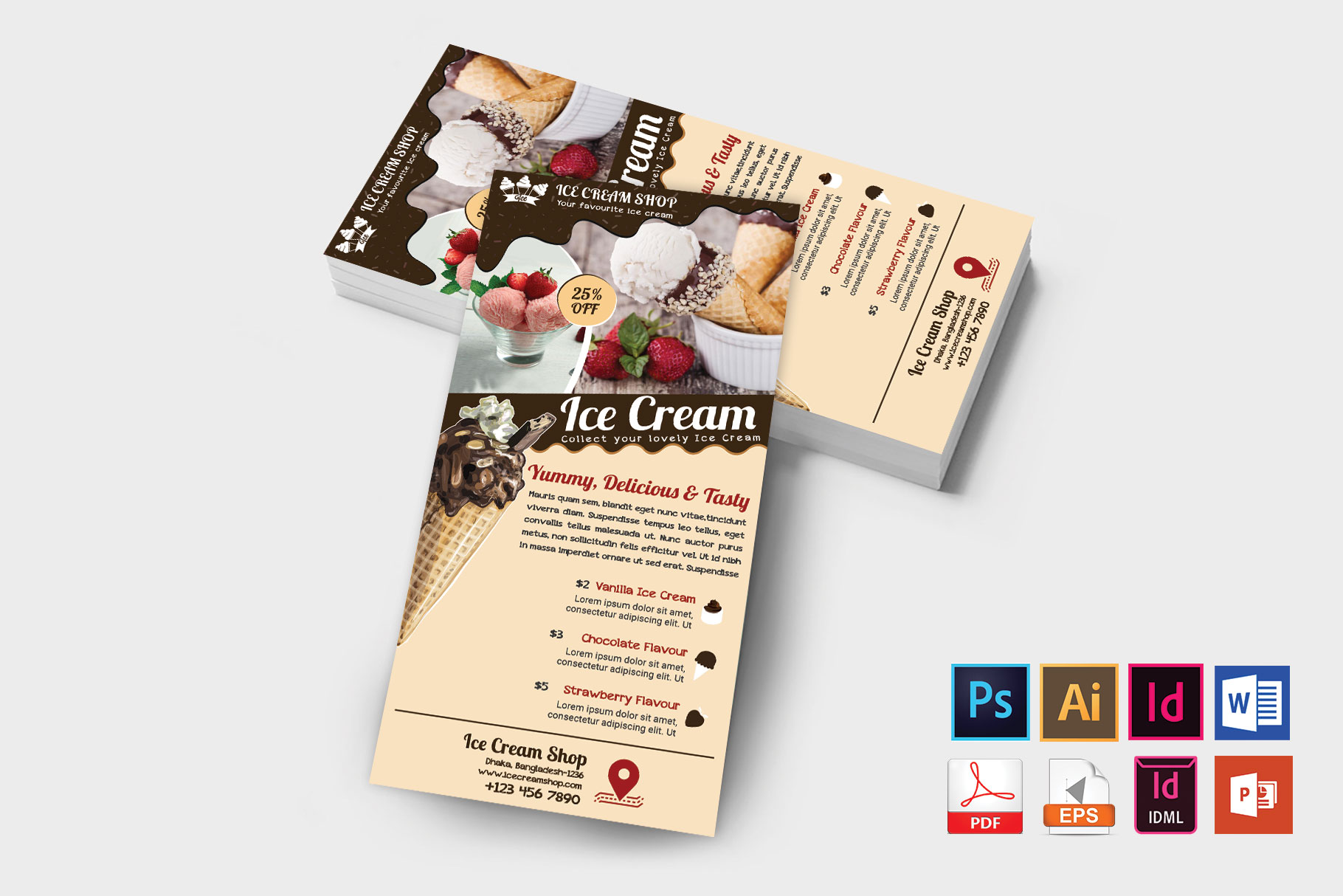Rack Card | Ice Cream Shop DL Flyer Vol-03 example image 2