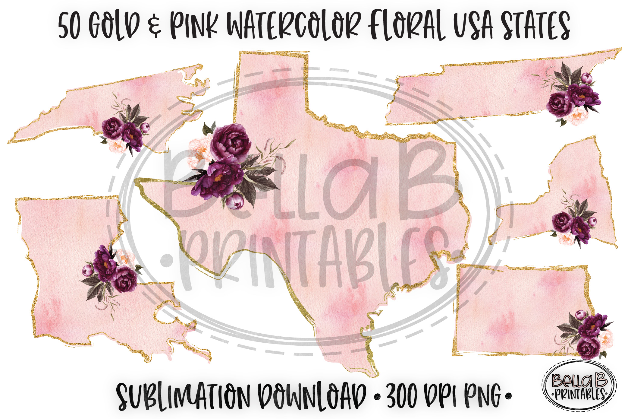 Gold and Pink Watercolor USA States Sublimation Bundle example image 1
