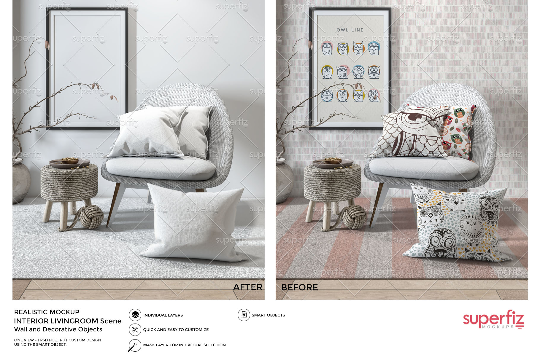 Pillows Wallpaper Frame Carpet PSD Mockup SM77 example image 4