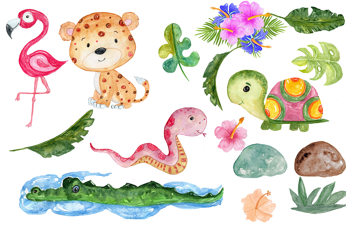 Watercolor African animals clipart example image 3