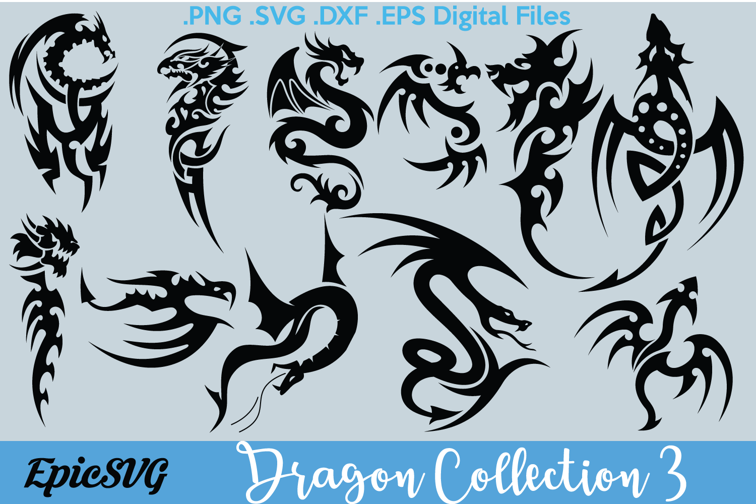 Dragon Collection 3 | .SVG .DXF | Pack Cricut Silhouette Chinese New Year Clipart Tribal example image 1