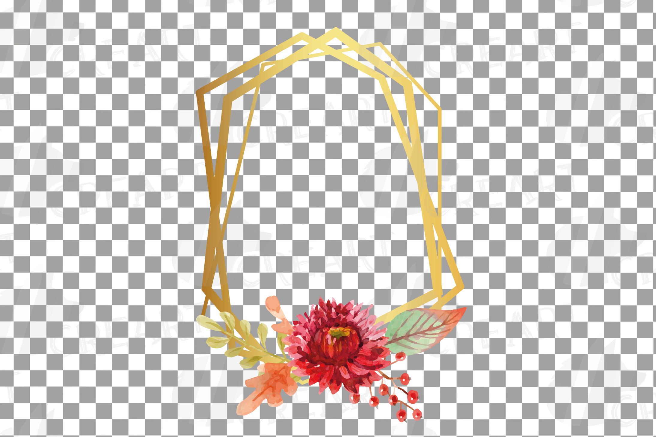 Watercolor elegant autumn geometric golden frame templates. example image 10