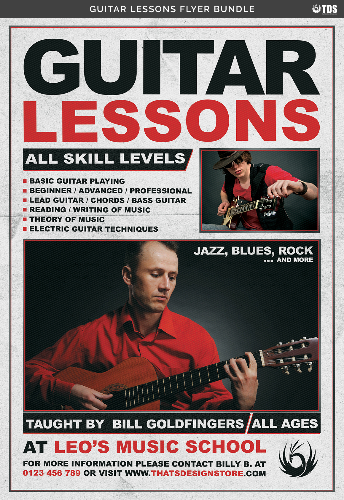 Guitar Lessons Flyer Bundle example image 11