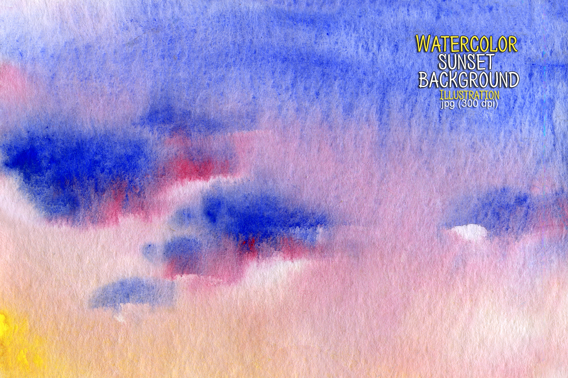 Watercolor sunset background example image 1