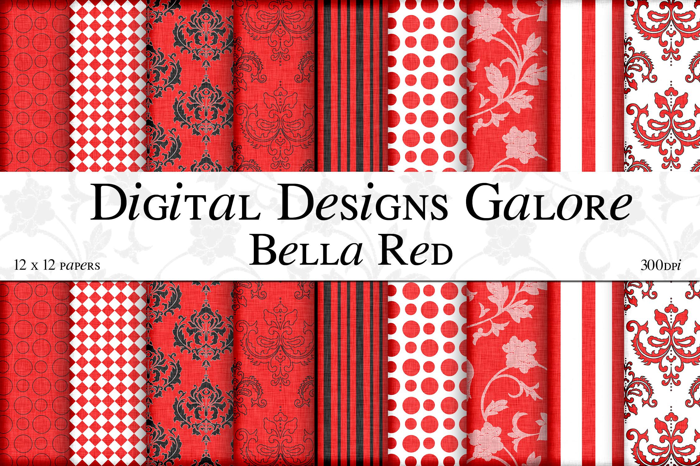 Bella Red Digital Paper Pack example image 1