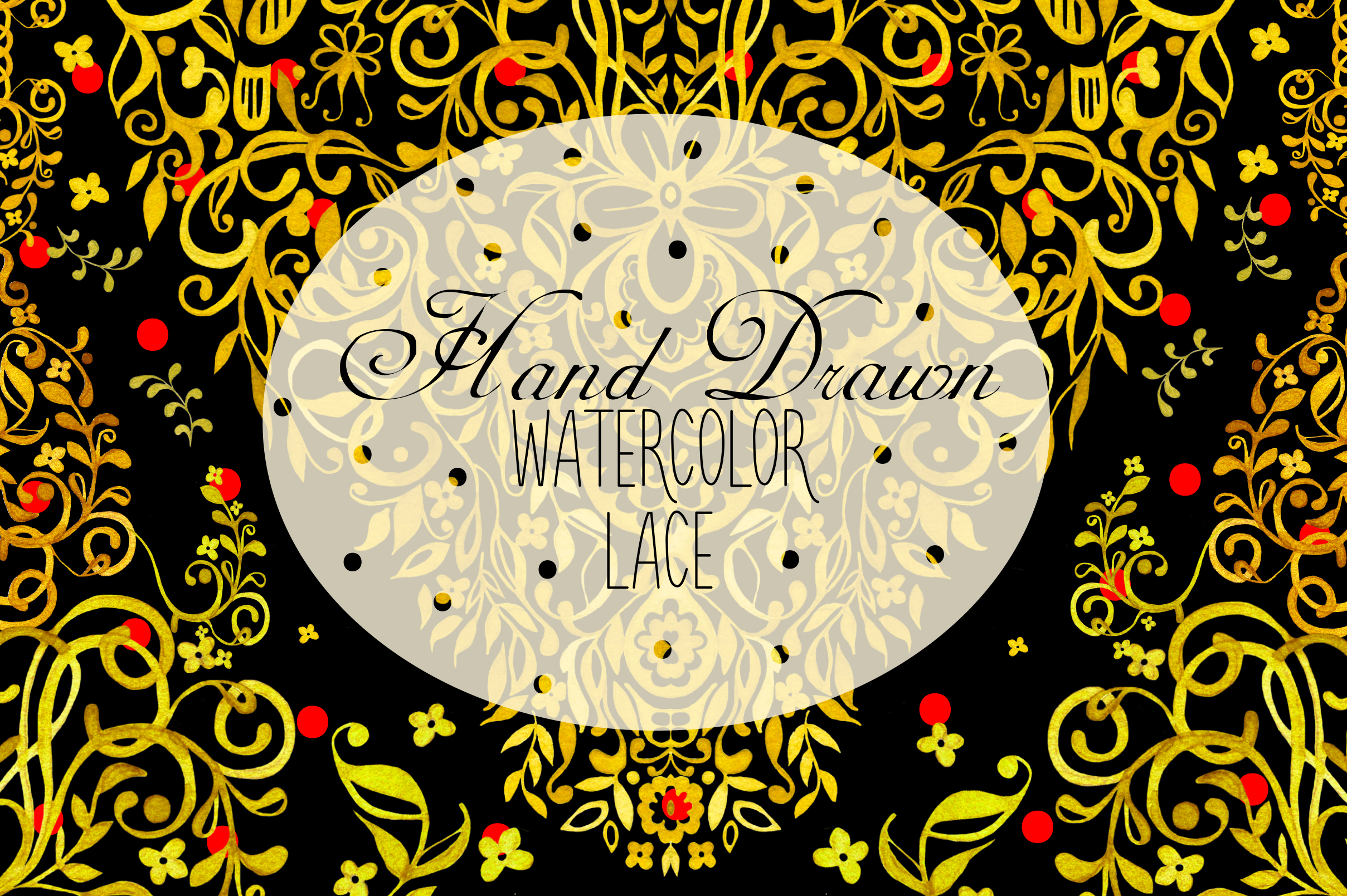 Hand Drawn Watercolor LACE example image 1