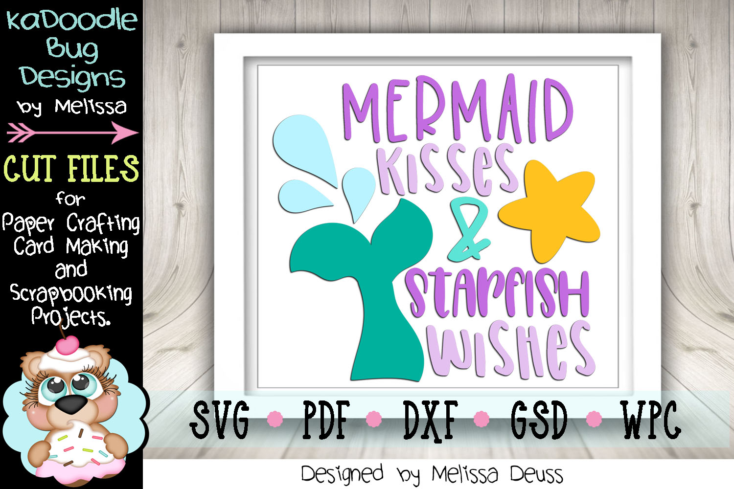 Mermaid Kisses and Starfish Wishes Cut File - SVG PDF DXF example image 3