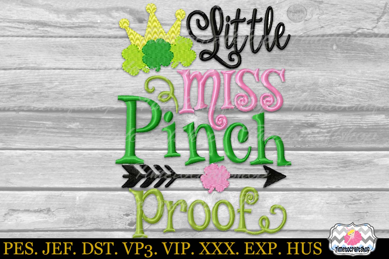 St Patricks Day Little Miss Pinch Proof Embroidery example image 2