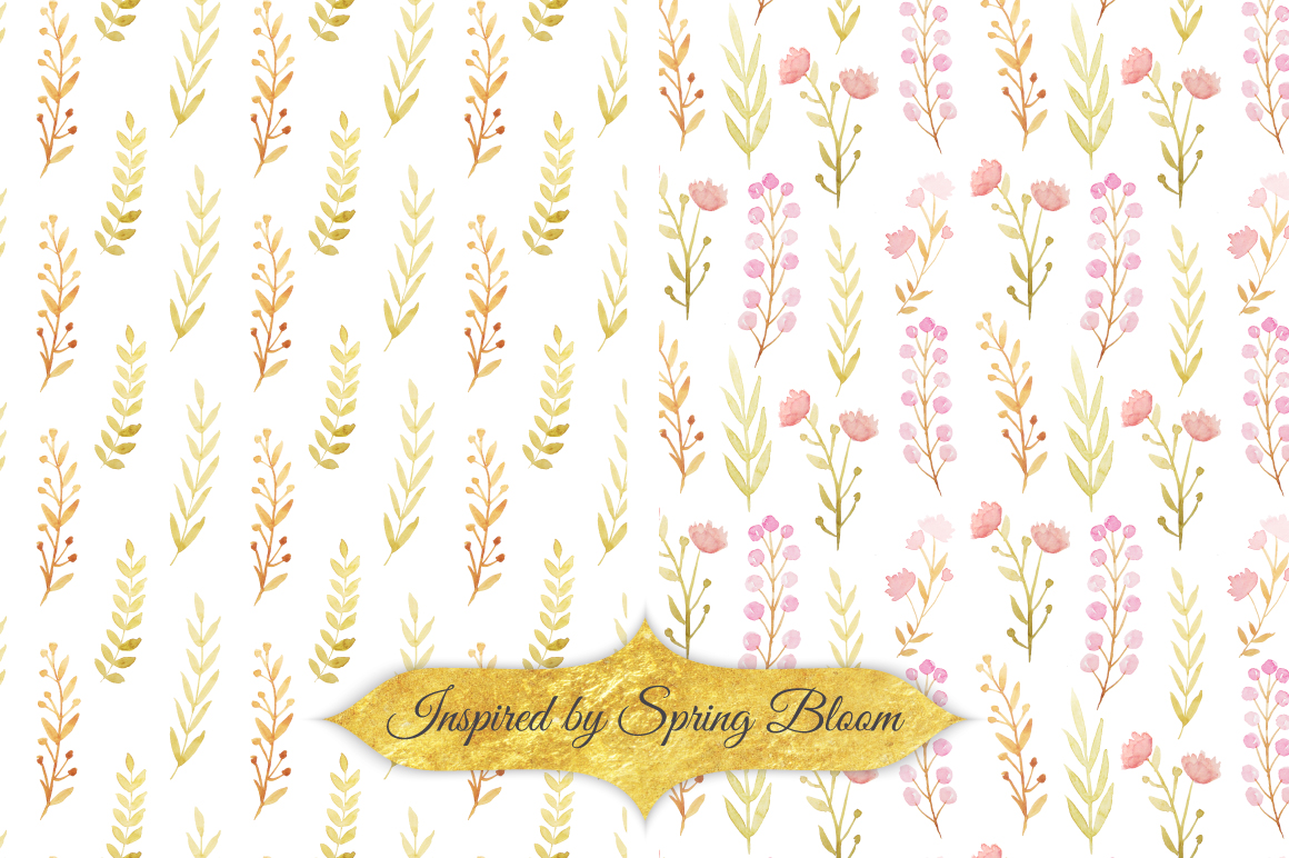 Watercolor Floral Patterns Vol.1 example image 4