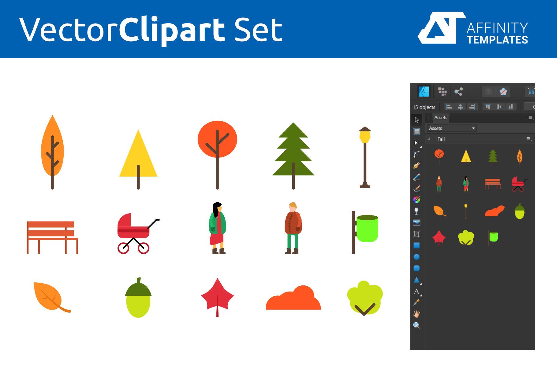 Autumn Park Clip Arts Set Fall example image 2