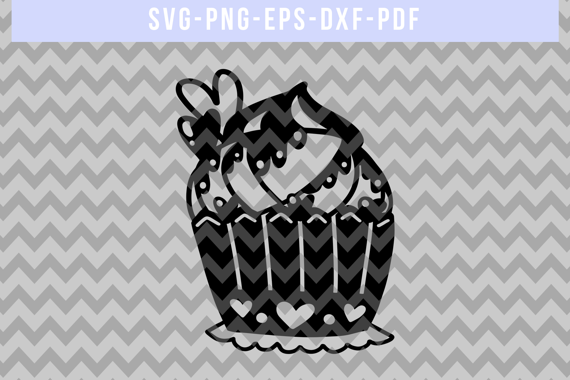 Heart Cupcake Papercut Template, Valentine Cut File SVG PDF example image 4