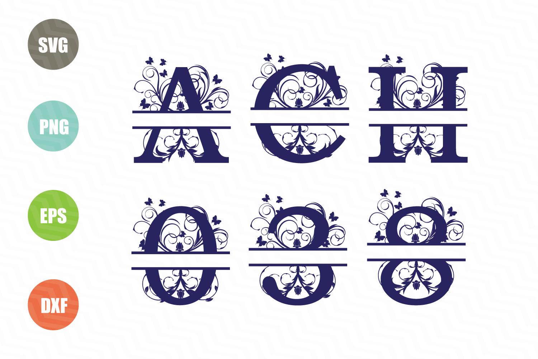 Split Letters A-Z SVG, Split Numbers 0-9 SVG example image 1