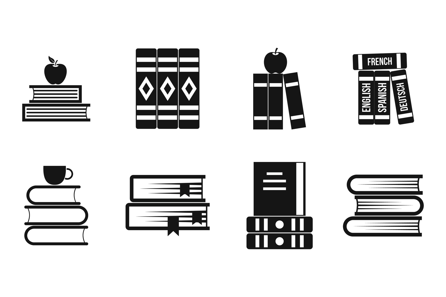 Volume of book icon set, simple style example image 1