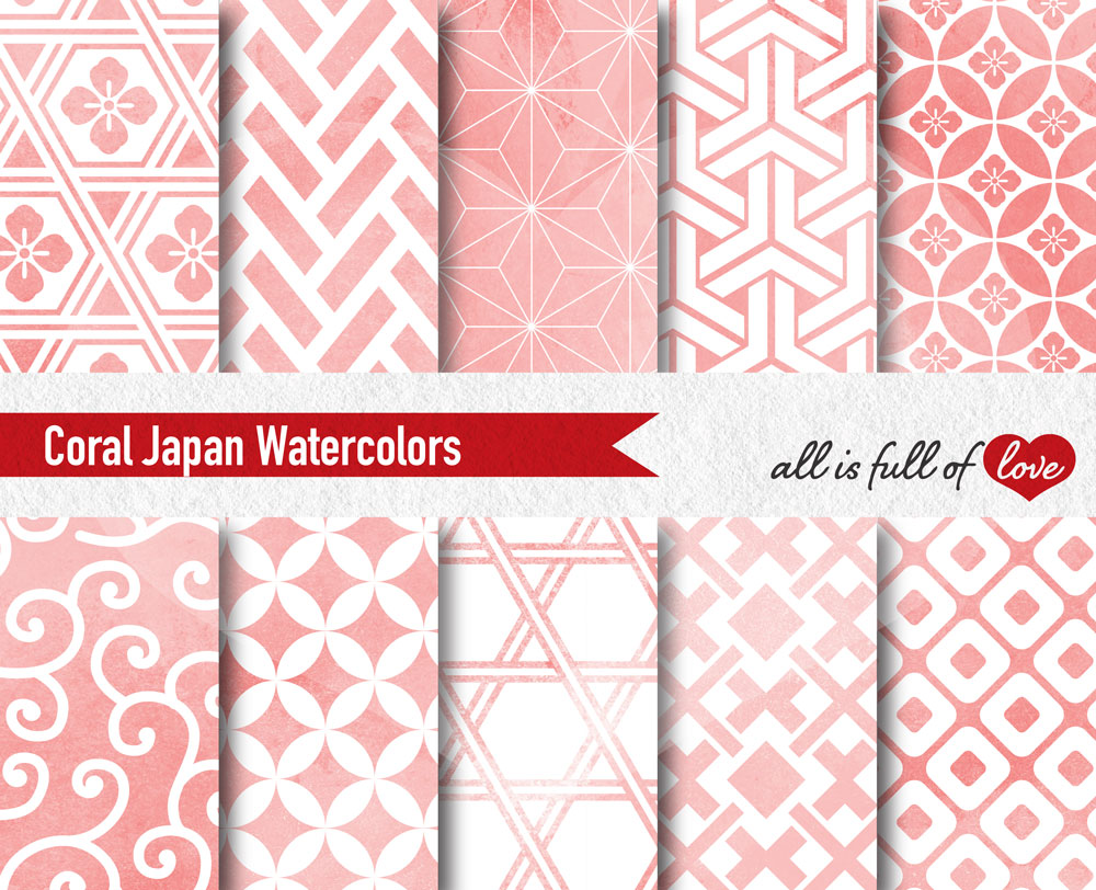 Coral Pink Digital Paper Japanese Background Patterns example image 2