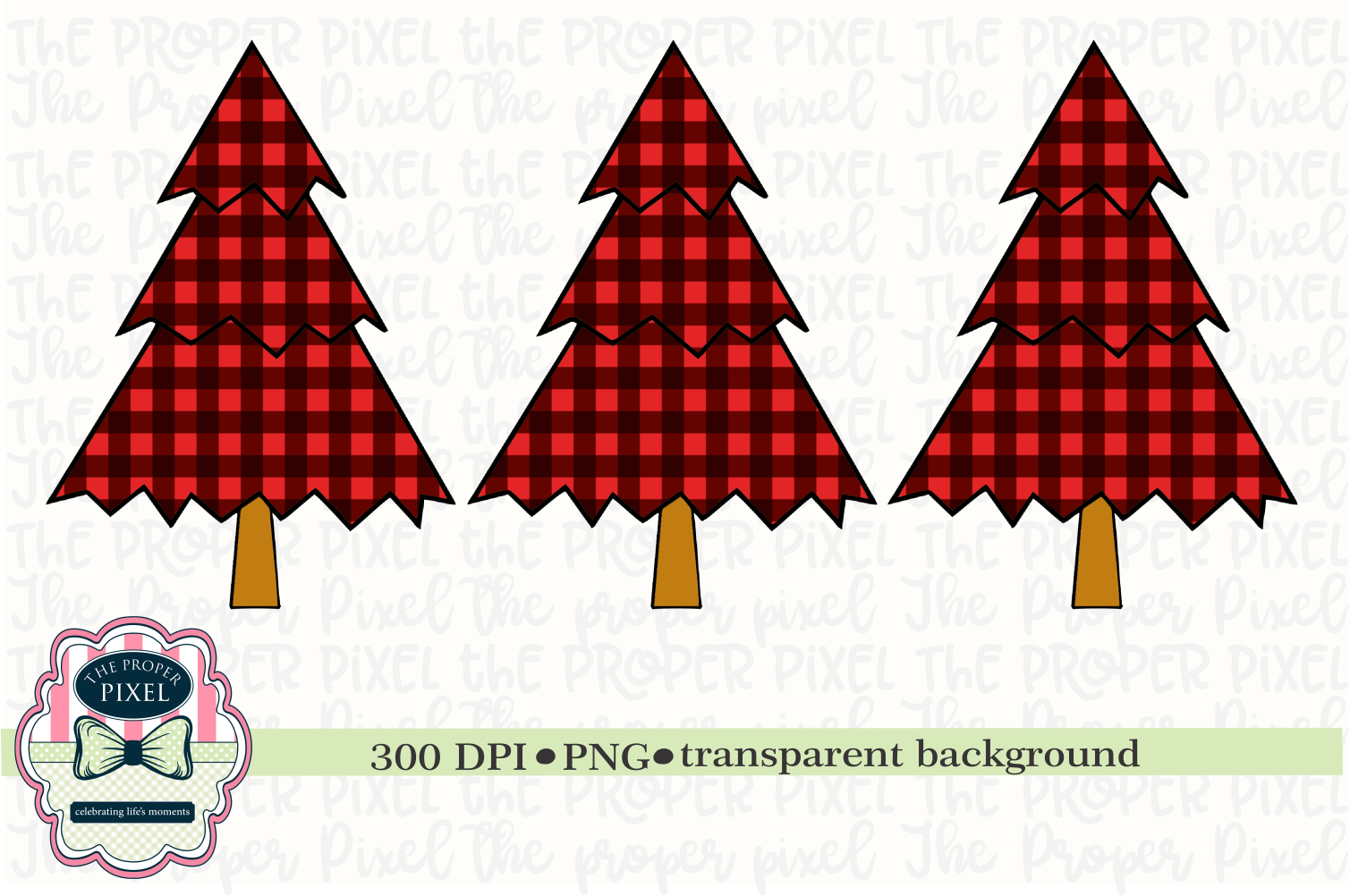 Tree Design Buffalo Plaid Christmas Sublimation Printable example image 1