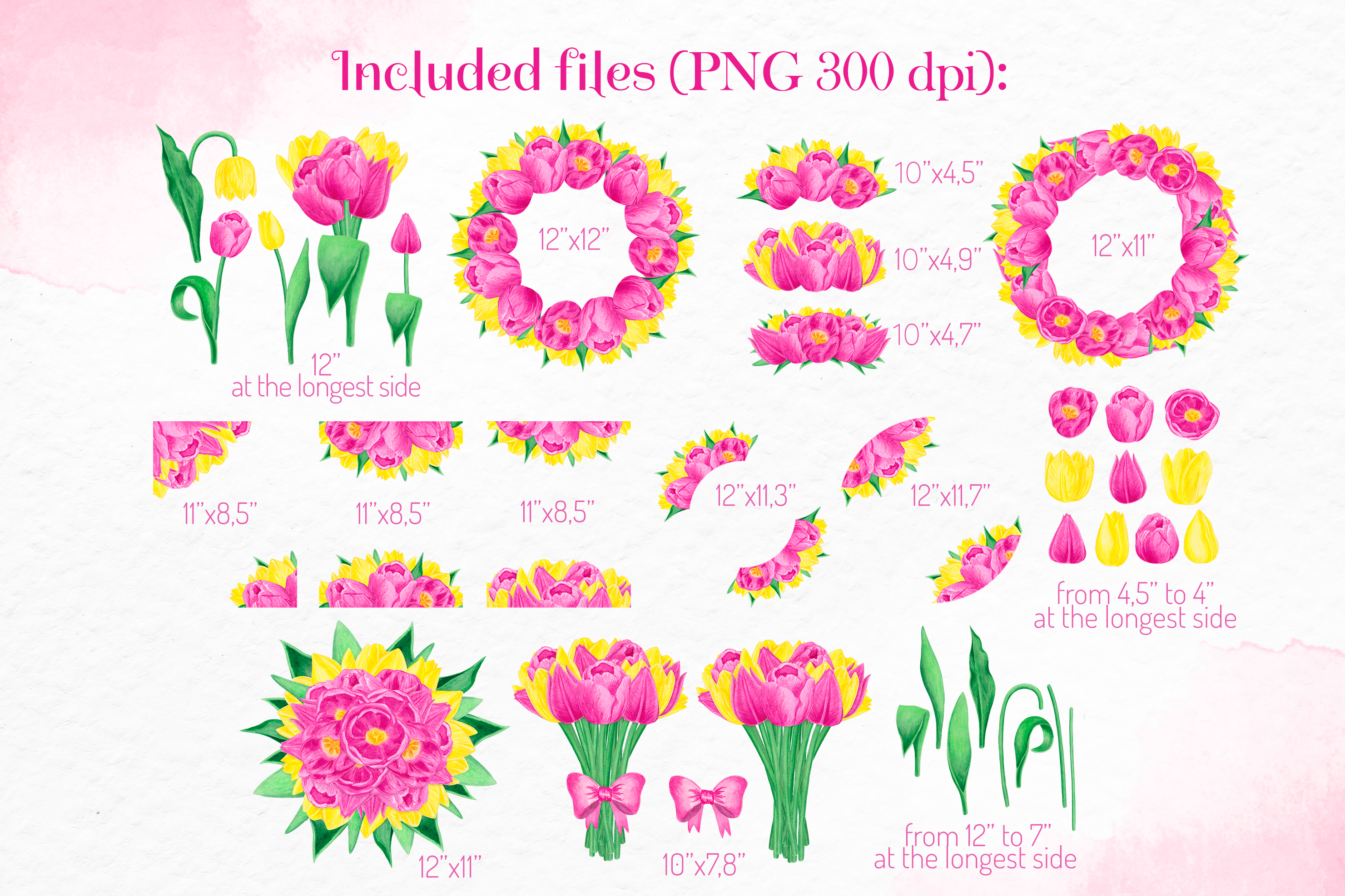 Pink yellow floral clipart Watercolor tulip constructor example image 2