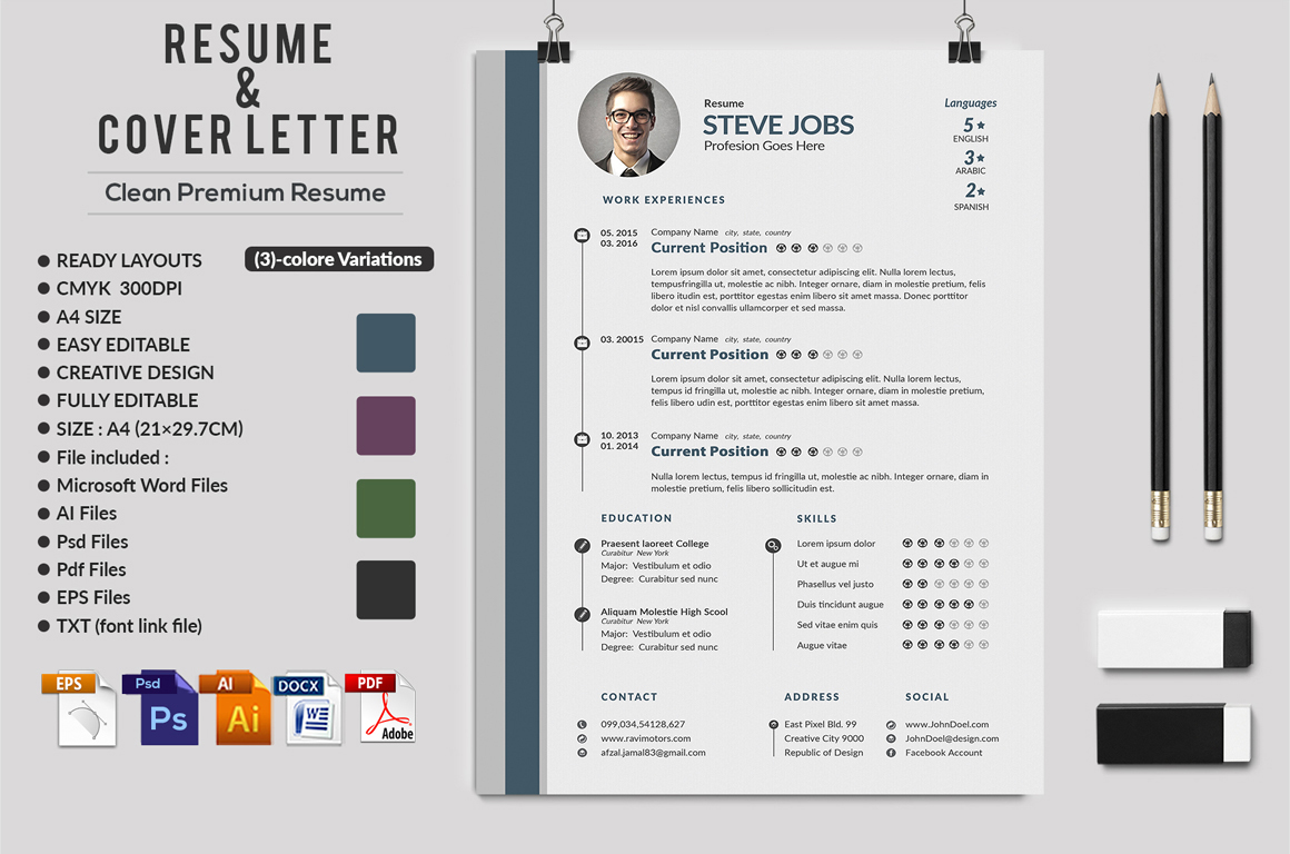 12 Clean Rsume Invoice and Letterhead Bundle example image 12