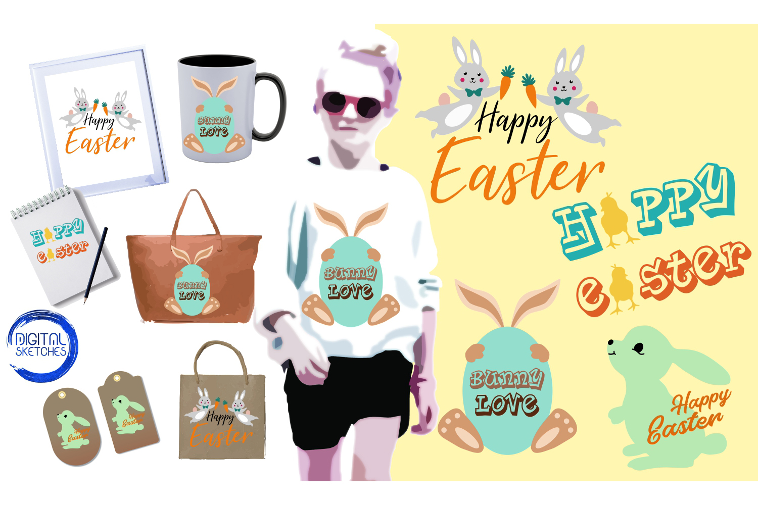 Easter Bunny Collection Easter Egg Vector Illustration example image 1