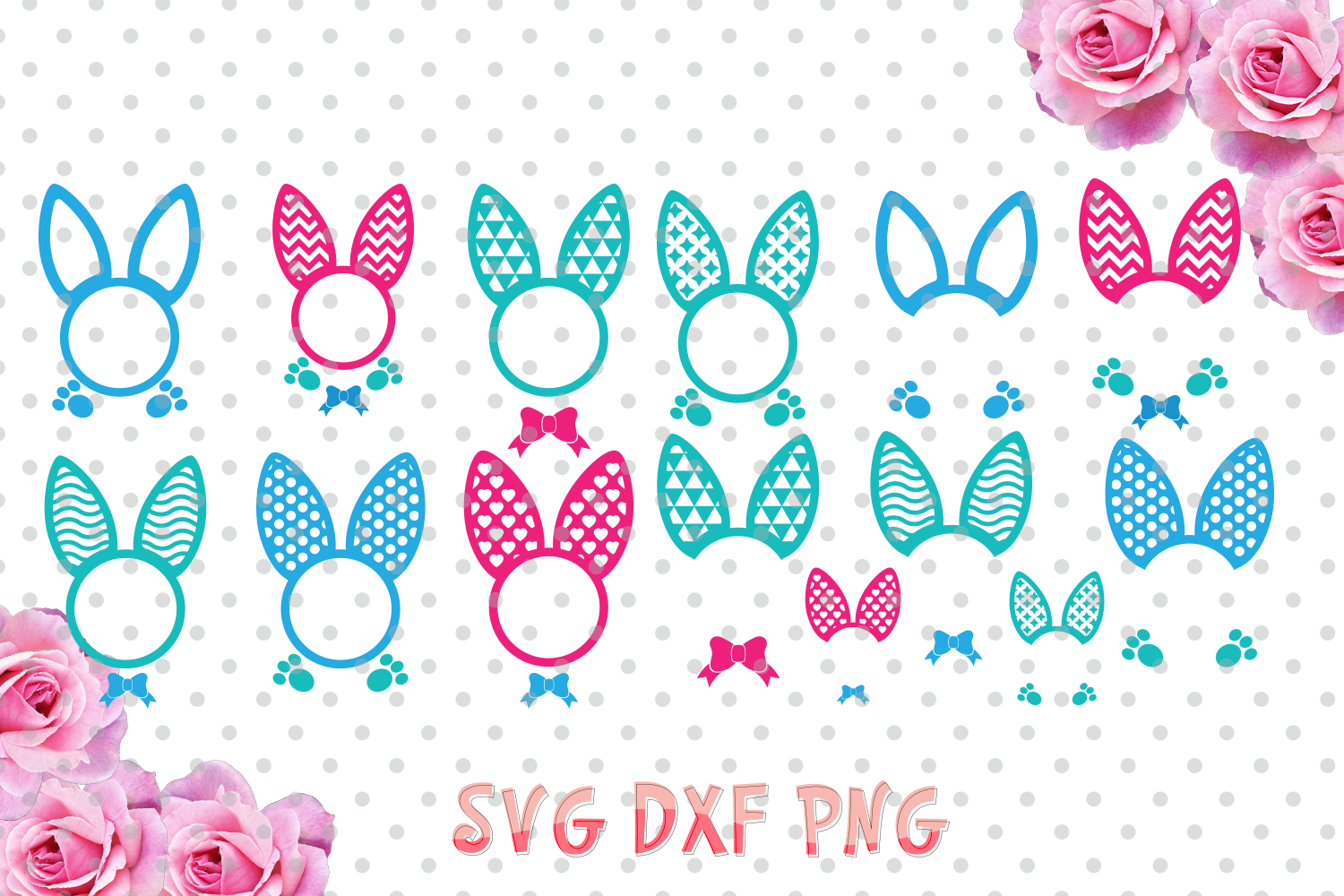 Easter bunny ears Monogram Frames Svg cutting file, bunny ears SVG, DXF, Cricut Design Space, Silhouette Studio,Digital Cut Files example image 2