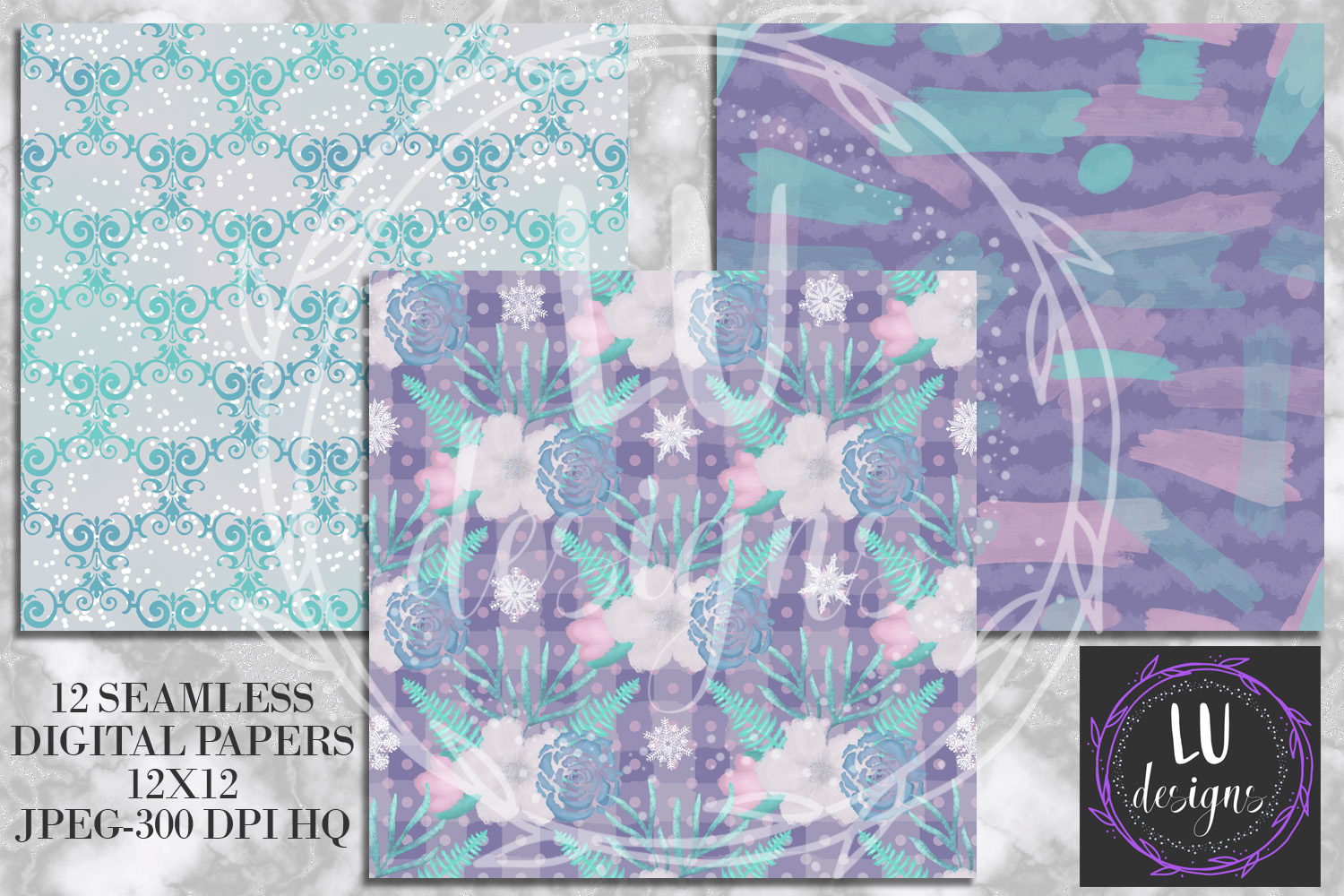 Winter Flowers Digital Papers, Winter Backgrounds example image 2