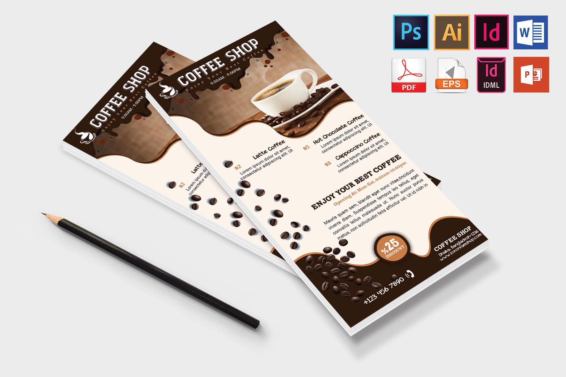 Rack Card   Coffee Shop DL Flyer Vol-02 example image 4