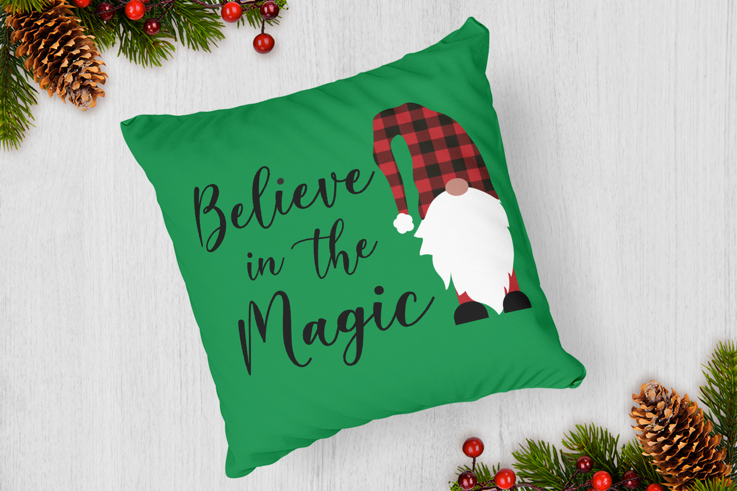 Believe in Magic, Gnome Buffalo Plaid Svg example image 4