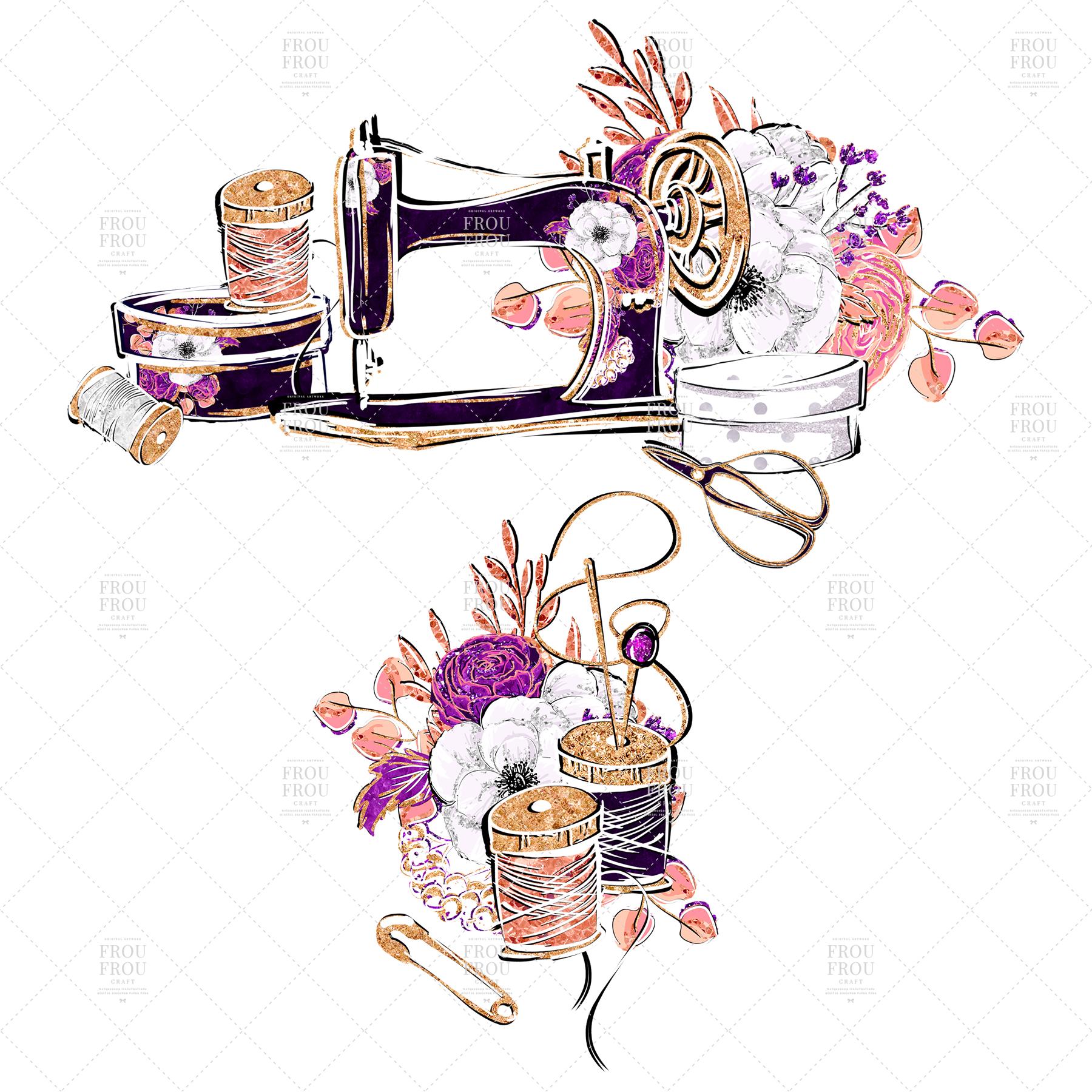 Fashion Designer Sewing Gold Glitter Clip Art example image 7