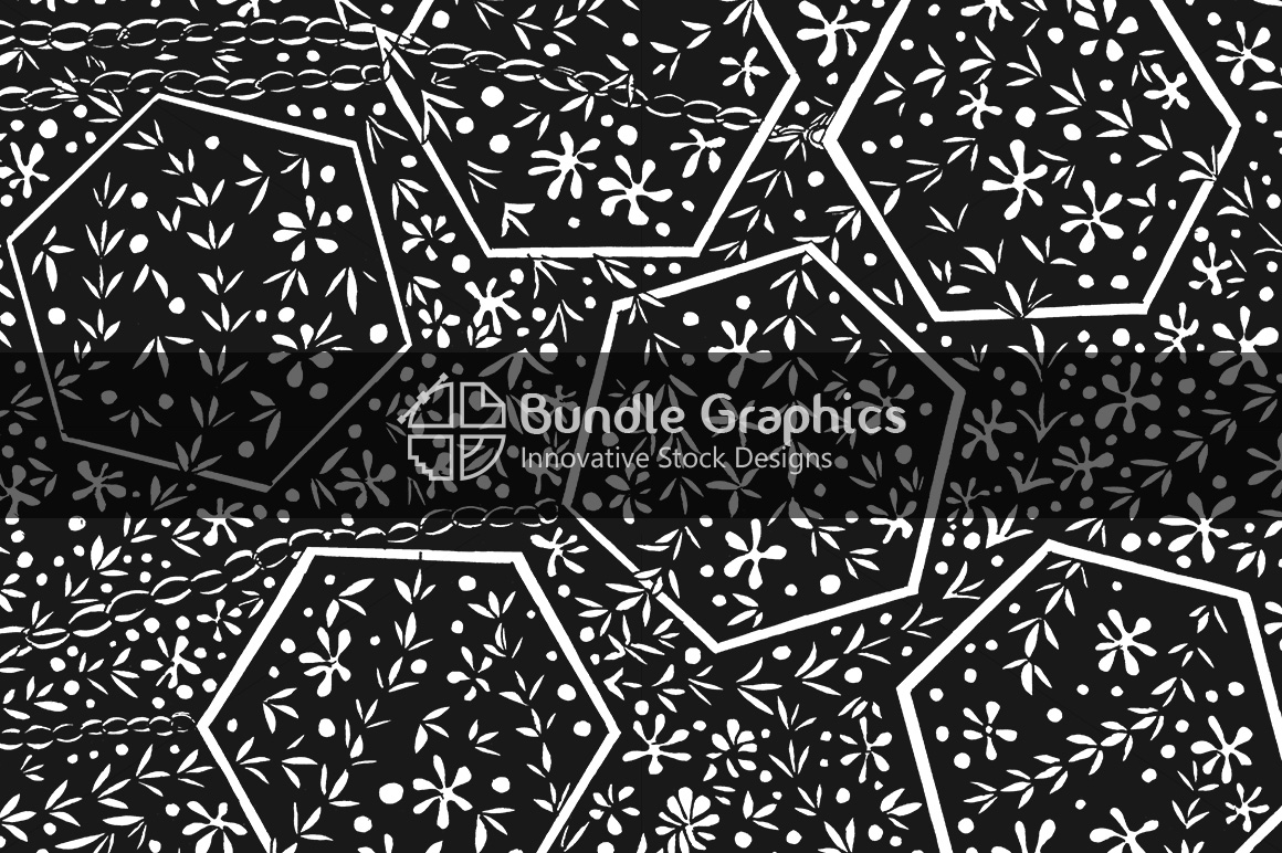 Nature Polygons Background - Handmade Black Ink Graphics example image 1