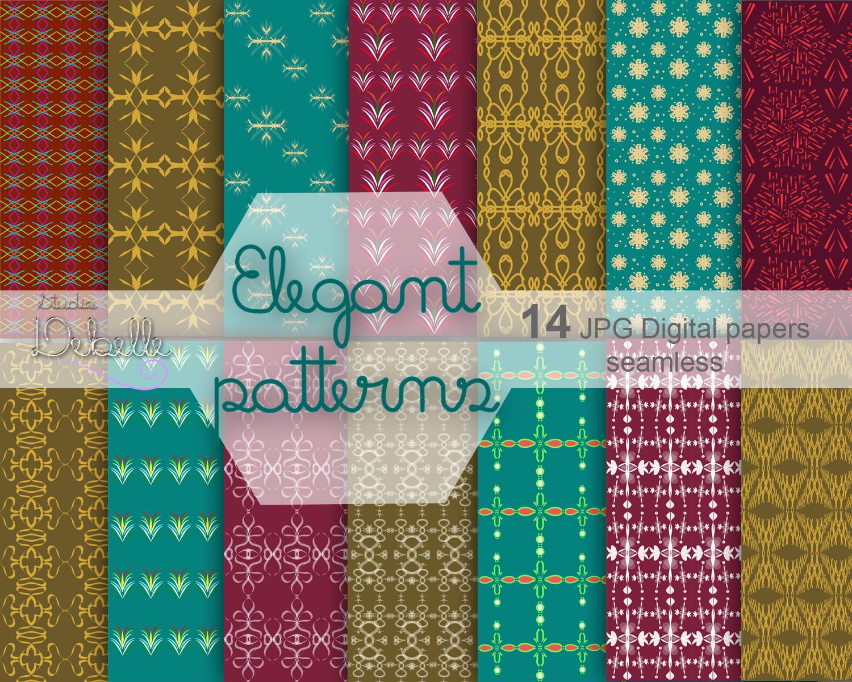 Elegant Patterns digital paper pack seamless pattern example image 1