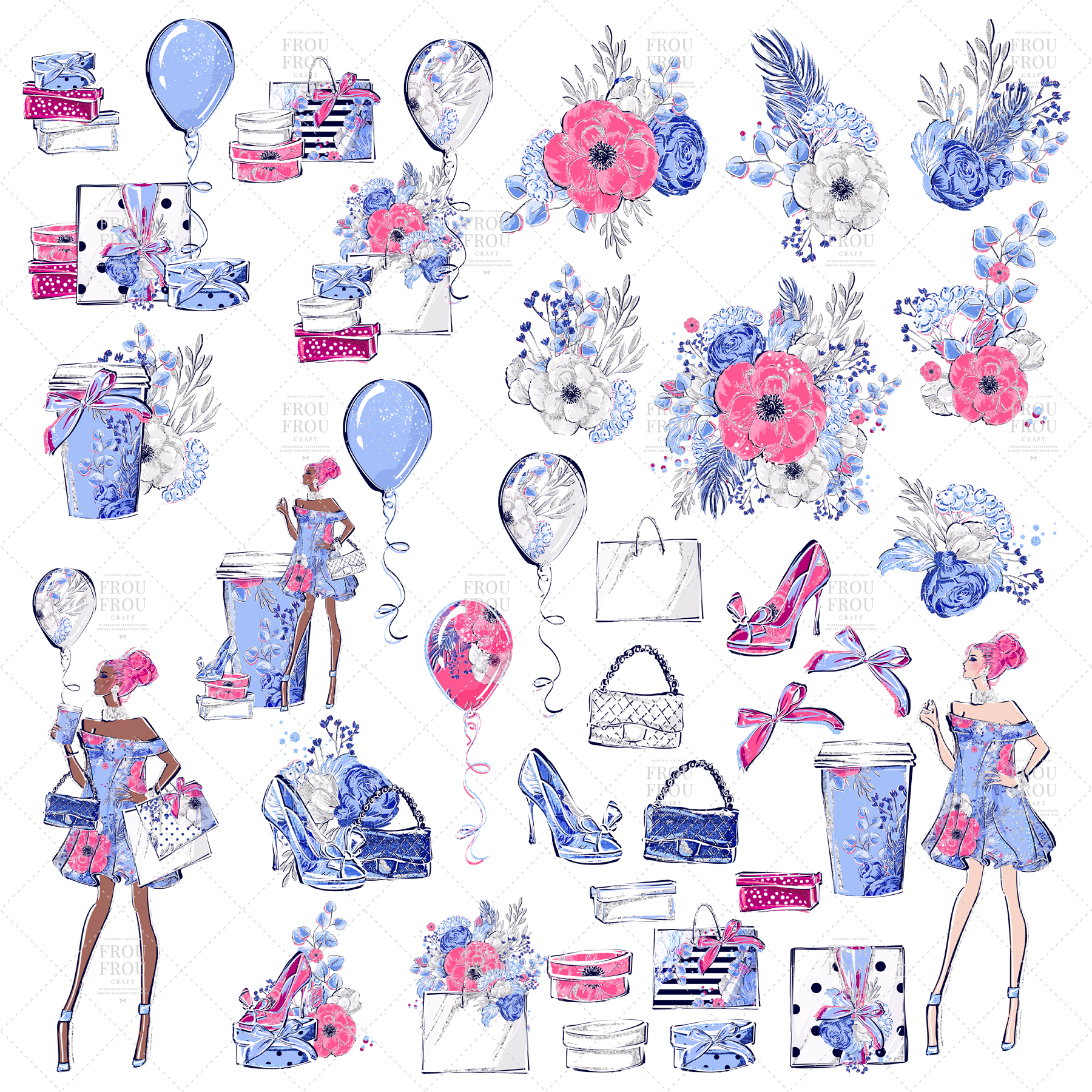 Fashion Girl Shopping Floral Silver Glitter Clip Art example image 3