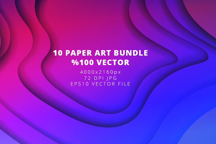 10 Paper Art Design Bundle - Backgrounds - Jpg and Vector example image 9